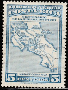 COSTA RICA C256, CENTENARY OF THE WAR OF 1856-1857. UNUSED, H OG VF. (360)