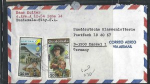 GUATEMALA  COVER (P2709B) 2 DIFF BOY SCOUT STAMPS ON A/M COVER TO GERMANY