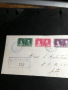 Nfld.#230-232 Registered Coronation Cover St.John's,NF/DEC 11/1937Full Set Of3