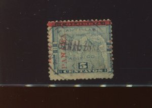 Canal Zone 2b RARE CANAL ZONE DOUBLE OVERPRINT VAR Used Stamp with PSAG Cert 2