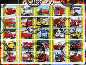 FIRE ENGINES Sheet (25) stamps Perforated Fine used VF #1