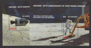 ST.VINCENT SGMS1333 1989 20th ANNIV OF FIRST MAN LANDING ON THE MOON MNH