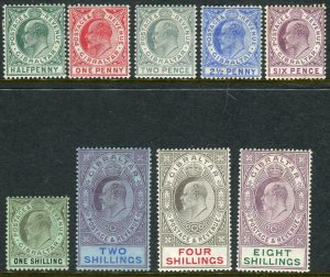 GIBRALTAR-1906-11  A mounted mint set to 8/-, 6d with some gum toning Sg 66-74