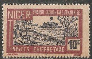 Niger Postage Due Stamp - Scott #J12/D2 10c Red Brown & Blk Vio OG Mint/LH 1927