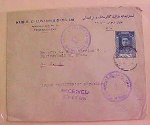 IRAN  SHAH 2 DIFF. CENSOR  1945 TO USA