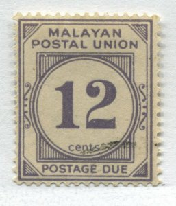 Federated Malay States 1936 12 cents Postage Due very lightly used