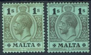 MALTA 1914 KGV 1/- 2 SHADES WMK MULTI CROWN CA
