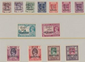 BURMA  1947  S G 041 - 053  OFFICIAL SET OF 13  MH  CAT £240