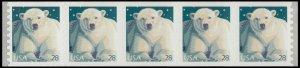US 4389 Polar Bear 28c coil strip (5 stamps) MNH 2009