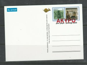 Cyprus Pre Paid Postcard, optd AKYPO, picture Troodos
