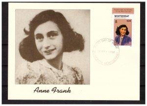 MONTSERRAT 1998 Anne Frank/WW II/Judaica Maximumcard