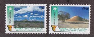 U.N. - Vienna # 114-115, Namibia, Mint NH, 1/2 Cat.