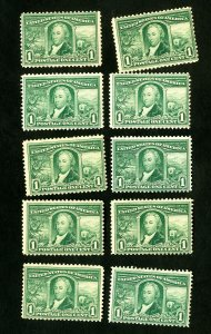 US Stamps # 323 F+ + F/VF Fresh Lot of 10 OG NH Scott Value $600.00