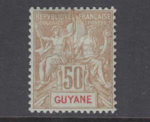 French Guiana Sc 47 MLH. 1900 50c blue Navigation & Commerce on azure paper, LH