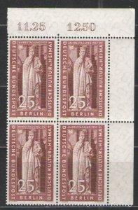 Germany - Deutsche Bundespost Berlin 1957 Sc# 9N157 MNH F  Block of 4