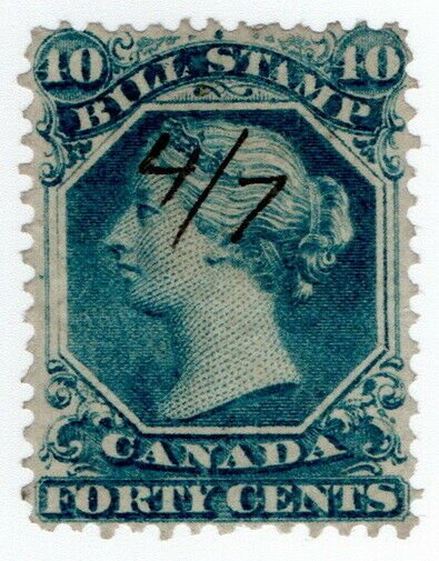 (I.B) Canada Revenue : Bill Stamp 40c (1865)