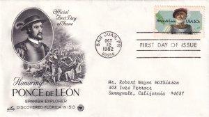 1982, Honoring Ponce de Leon, Art Craft/PCS, FDC (E12266)