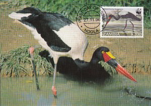 Zambia 1996 Maxicard Sc #654 200k Saddle-billed stork WWF