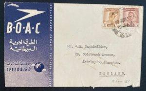 1952 Basra Iraq  First Flight Airmail Cover FFC To Southampton England BOAC