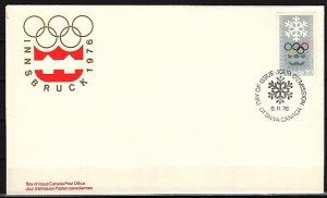 Canada, Scott cat. 689. Innsbruck Olympics issue. First day cover. ^
