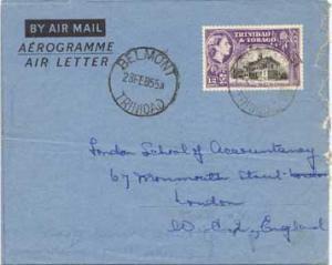 Trinidad 12c QEII Town Hall, San Fernando Air Letter 1955 Belmont, Trinidad A...