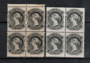Nova Scotia #8 #8a Mint Never Hinged Block Duo