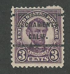 1923 USA Sacramento, Claif.  Precancel on Scott Catalog Number 555