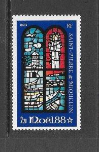 ST PIERRE & MIQUELON #512 CHRISTMAS 1988  MNH