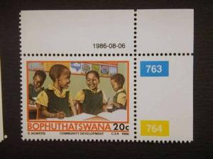 BOPHUTHATSWANA, 1986 MNH, 20c Temisano Development Project. Children at schoo...