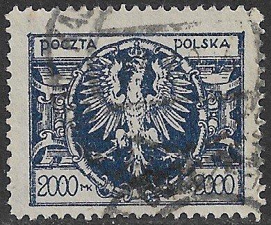 POLAND 1921-23 2000m Polish Eagle Issue Sc 169B VFU