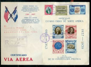 GUATEMALA US CONSTITUTION 150TH ANNIVERSARY S/S LOT OF 9 FDC'S AS SHOWN