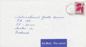 Canada 30c Red Oak 1978 Whitewood, Sask. Airmail to Turku, Finland.