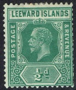LEEWARD ISLANDS 1921 KGV 1/2D DIE I WMK MULTI SCRIPT CA