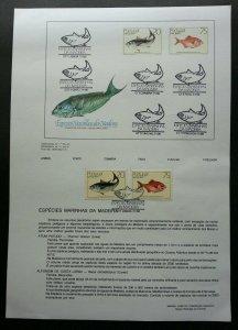 Portugal Fish Of Madeira 1989 Marine Ocean Underwater Life (stamp on info sheet)
