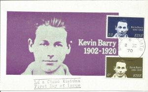 Maximum Card EIRE 1970 Kevin Barry 1902-1920 Irish Volunteers Hanged U3797