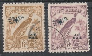 NEW GUINEA 1932 UNDATED BIRD AIRMAIL 6D AND 9D USED