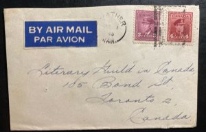 1945 Mather Canada Airmail Cover To Toronto