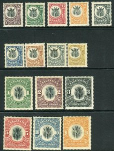 TANGANYIKA-1922-24  A mounted mint set to £1 Sg 74-88a
