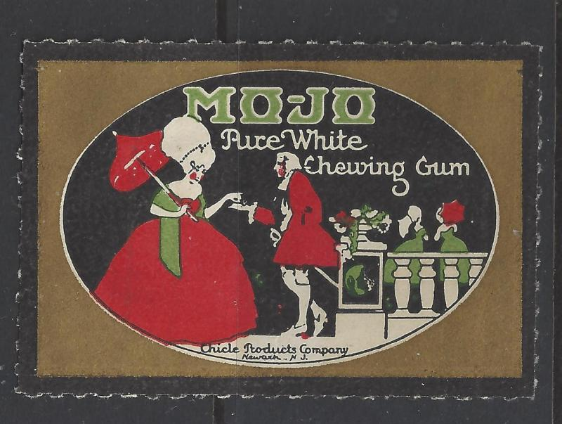 Early 1900s Chicle Mo-Jo Pure White Chewing Gum Ad Poster Stamp - (AV51)