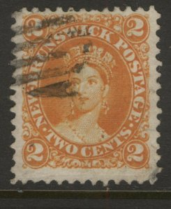 NEW BRUNSWICK 7 QUEEN VICTORIA 1863 2c ORANGE FIRST CENTS ISSUE VF USED CV$25