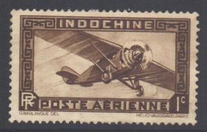 Indo-China SG197, 1933 Airmail 1c MH* poor gum