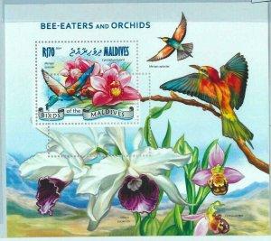 A0941 -  MALDIVES  - ERROR   MISSPERF SHEET - FAUNA Birds ORCHIDS Flowers