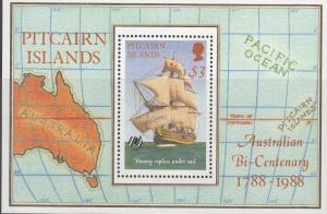 Pitcairn Islands, Sc # 297, MNH, 1988, Map & Planes