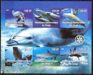 Congo 2004 Dolphins Sheet of 6 Imperf. MNH Cinderella !