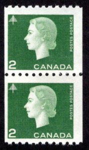 Scott 406, 2c green, Pair, F, MNHOG, Cameo Issue, Coil, Canada Postage Stamp