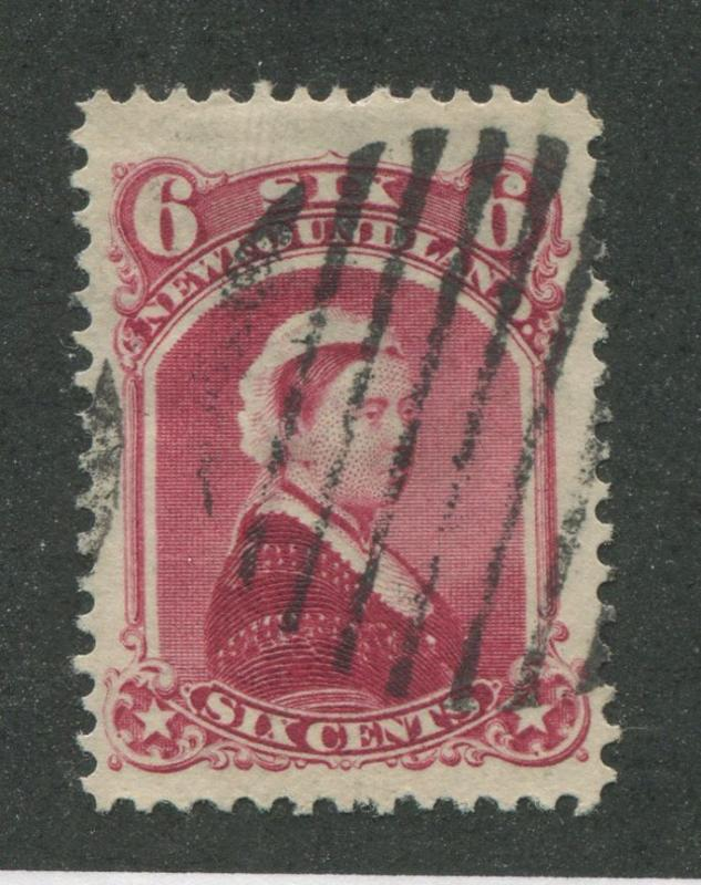 Newfoundland #36 6c Carmine Lake Queen Victoria 1868-94 Cents Issue VF-78 Used