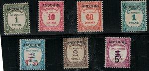 French Andorra 1931-1933 SC J9-J15 Mint SCV $546.00 Set