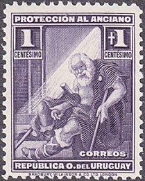 Uruguay # B1 mnh ~ 1¢ + 1¢ Indigent Old Man
