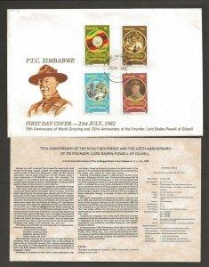 1982 Scouts Zimbabwe 75th anniversary World Scouting BadenPowell FDC