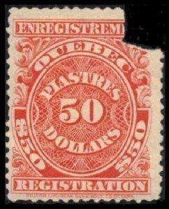 SALE CANADA QUEBEC REVENUE 1924 RARE OGNH $50. #QR27 FAULT CV $150.00 WHEN SOUND